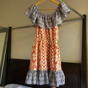 Tularosa aztec print red and blue dress size s